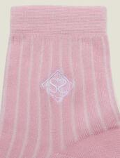 Embroidered Cotton Socks : LastChance-FR-FSelection color Rose pastel