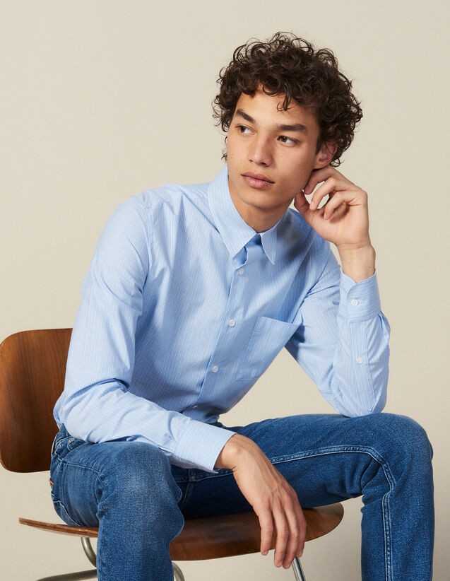 Striped Shirt With Breast Pocket : Winter Collection color Blue/white