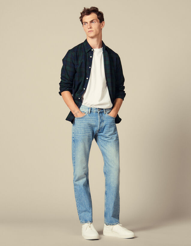 Washed denim : Jeans color Blue Vintage - Denim