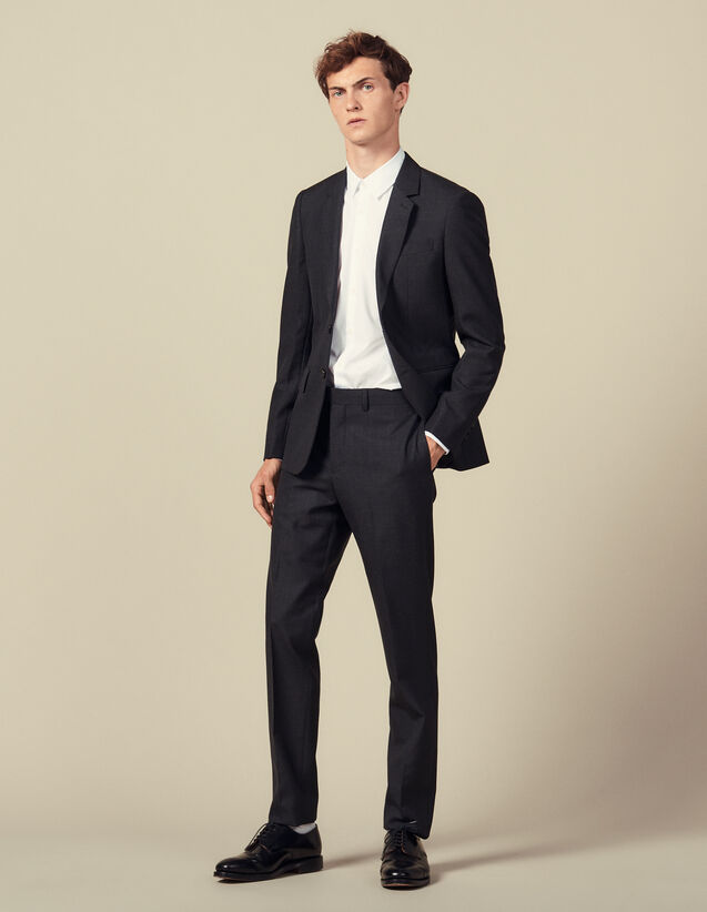 Topstitched Suit Trousers : Suits & Tuxedos color Charcoal Grey