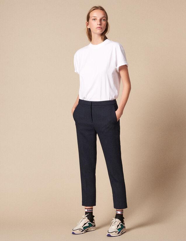 Plain Darted Trousers : Pants color Navy Blue