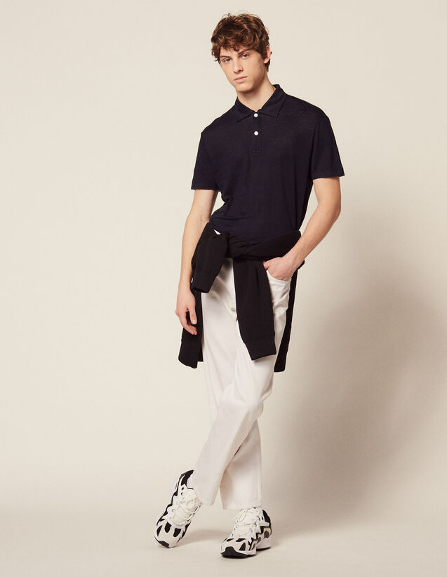 Short-Sleeved Linen Polo Shirt : T-shirts & Polo shirts color white