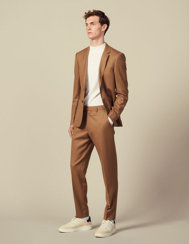 Wool suit trousers : LastChance-IT-H50 color Camel
