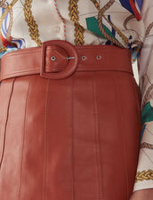 Leather Skirt With Belt : null color Caramel