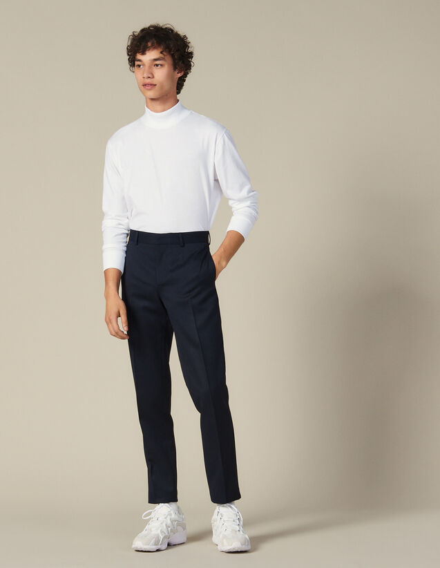 Funnel Neck T-Shirt : T-shirts color white