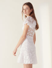 Ruffled Lace Dress : All Selection color white