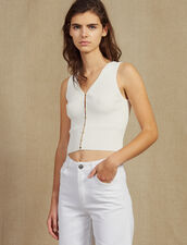 Knit Top With Jewelled Buttons : Tops & Shirts color white