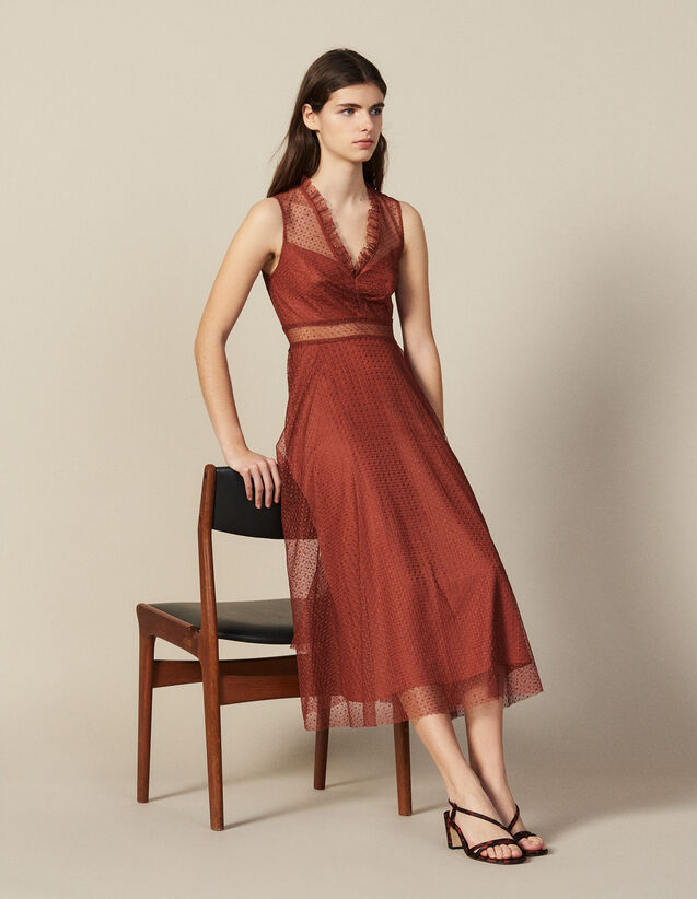 Long embroidered tulle dress : FBlackFriday-FR-FSelection-30 color Rust