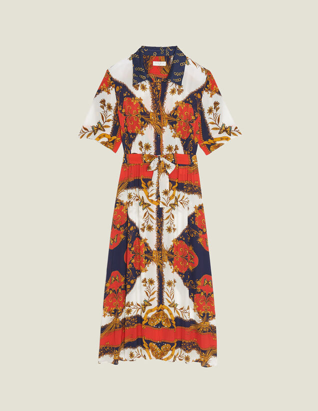 Shirt Dress With Scarf Print : null color Multi-Color