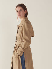Belted Trench-Style Coat : Coats color Beige