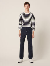 Smart Cotton/Linen Trousers : All Selection color Navy Blue