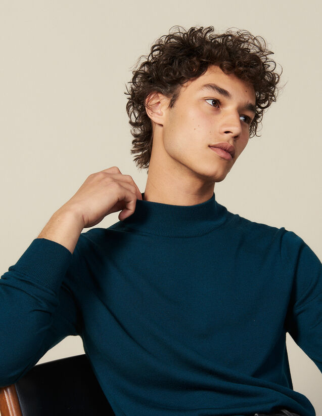 Funnel neck sweater : Sweaters & Cardigans color Dark green