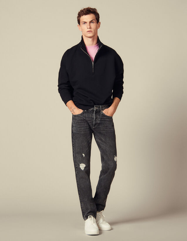 Washed Slim-Fit Non-Stretch Jeans : Jeans color Black