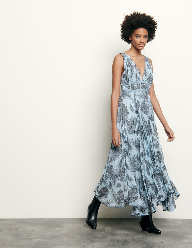 Long dress in printed chiffon : New Summer Collection color Blue