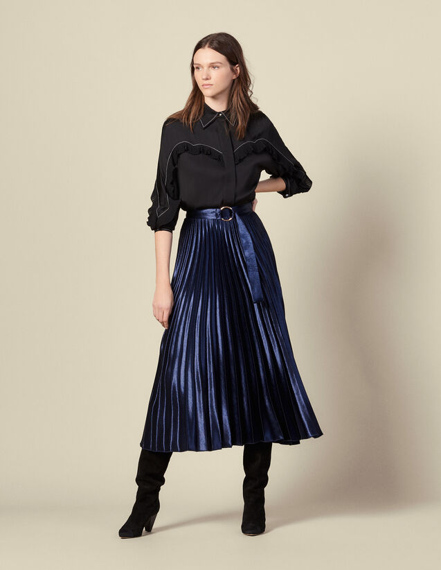 Long satin skirt with sunray pleating : Skirts & Shorts color Navy Blue