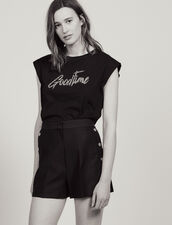 Shorts With Press Studs : All Selection color Black