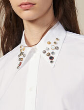 Asymmetric Shirt Trimmed With Studs : All Ready-to-wear color white