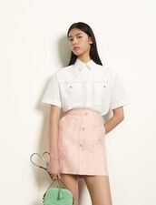 Short striped jacquard skirt : Skirts & Shorts color Pink