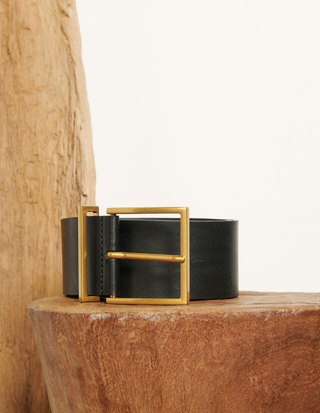 Wide leather belt : All Winter collection color Black