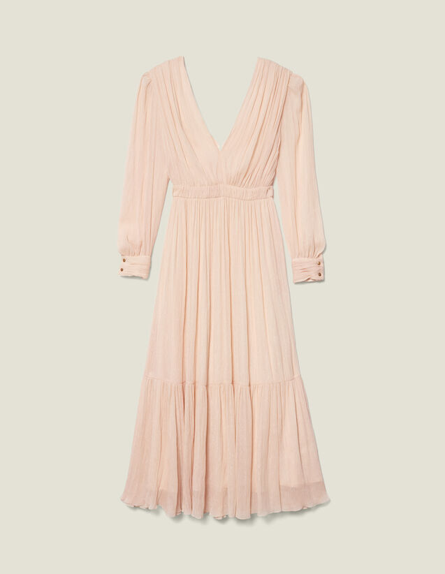 Long Pleated Dress With Long Sleeves : New In color Nude