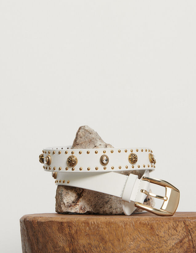 Belt trimmed with rivets : Summer Collection color white