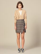 Checked Wrapover Skirt With Slit : LastChance-ES-F50 color Camel