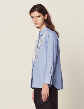 Shirt With Fine Stripes And Lace : Printed shirt color Sky Blue
