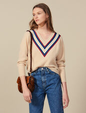 V-neck sweater with braid trim : Sweaters & Cardigans color Beige