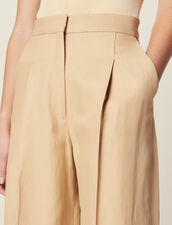 Wide Trousers With Darts : All Selection color Beige