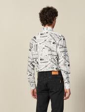 Newspaper print shirt : LastChance-IT-H50 color White And Black