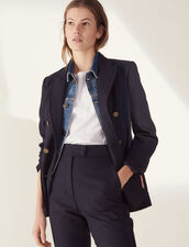Double-Breasted Jacket : null color Navy Blue