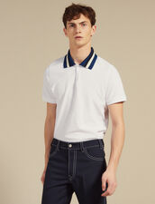 Cotton Polo Shirt With Varsity Collar : Sélection Last Chance color white
