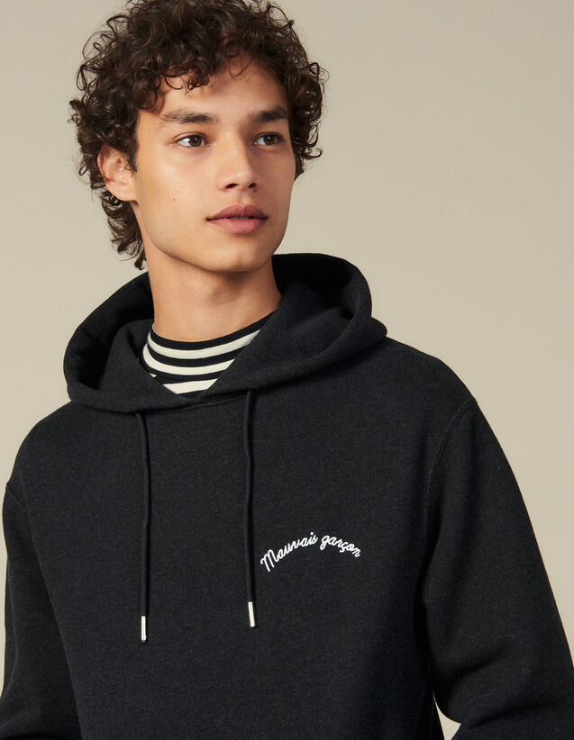 Hoodie With Lettering Embroidery : New Collection color Dark Grey