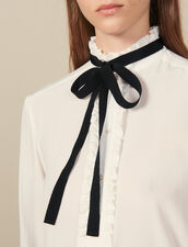 Silk Blouse With Ribbon : Tops & Shirts color Ecru