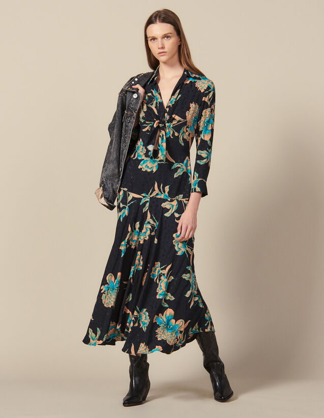 Long Printed Dress With Tie Fastening : New In color Black