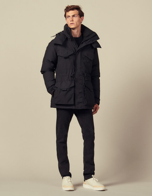 Mid-length down parka : Trench coats & Coats color Black