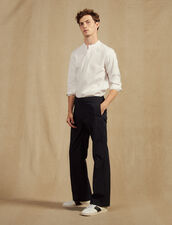 Cotton Trousers With Elasticated Waist : All Selection color Navy Blue