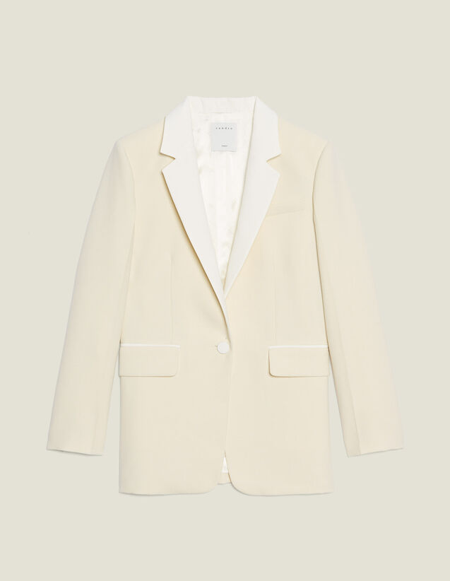Suit Jacket With Contrasting Collar : null color Ecru