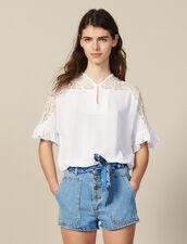 Top With Lace Insert : All Selection color white