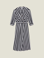 Midi Dress With Contrasting Stripes : null color Black