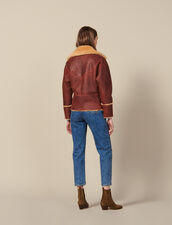 Two-tone sheepskin aviator jacket : All Selection color Brown