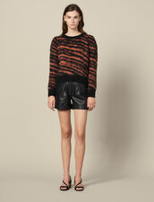 Hairy Striped Jacquard Sweater : Sweaters & Cardigans color Black / Acajou