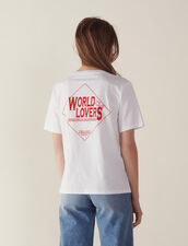 T-Shirt With Flocked Lettering : null color white