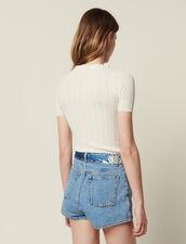 Openwork Knit Short-Sleeved Top : LastChance-FR-FSelection color white