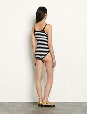 Strappy Breton bodysuit : Tops & Shirts color Black/White