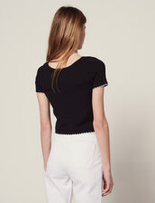 Knit Top With Short Sleeves : Tops & Shirts color Black