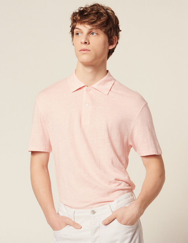 Short-Sleeved Linen Polo Shirt : Sélection Last Chance color white