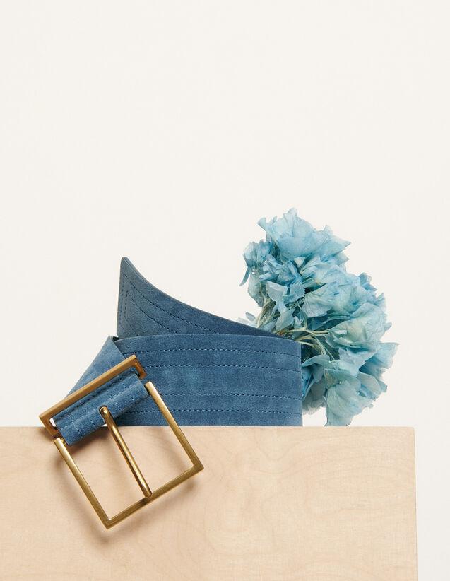 Wide topstitched belt : New Summer Collection color Bleu Denim