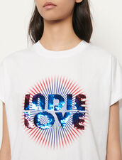 Organic cotton T-shirt with sequins : T-shirts color white