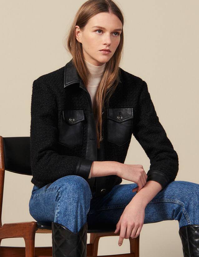Tweed jacket with leather trim : Blazers & Jackets color Black